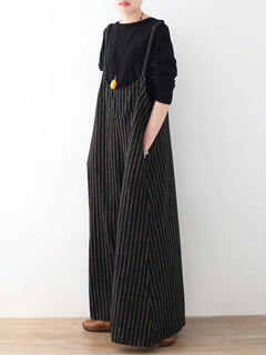 Vintage Vertical Striped Sleeveless Jumpsuits for Women