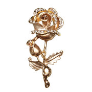 Multicolor Rhinestone Rose Flower Brooch