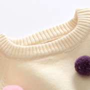 Baby Girl Girls Knit Sweater Spring Autumn Clothes Soft Long Sleeve Colorful Balls Decorate Sweaters