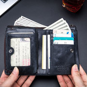 RFID Men Cow Leather 15 Card Slot Bifold Wallet Soft Coin Purse