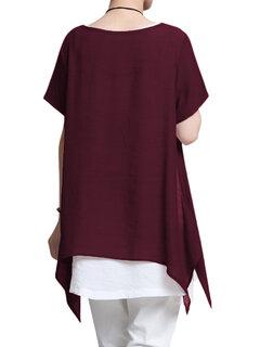 O-Newe T-shirt irrégulier à deux manches à manches courtes à manches courtes
