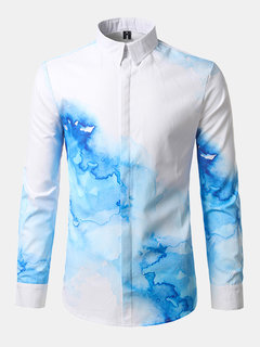 Slim Fit Printing Button Up Bussiness Casual Designer Dress Shirt para homem