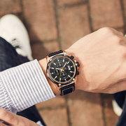 Military Style Leucht Datum Lederband Herren Armbanduhr Quarzuhr