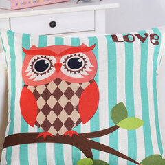 7 Styles Cute Owl Pattern Cotton Linen Pillow Case Waist Cushion Cover Bags Home Car Deco