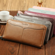 Men And Women Bifold Faux Leather Retro 12 Card Slot Long Wallet Solid Phone Purse