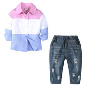 Boys Formal Clothes Sets Printed Shirt + Long Jeans For 1Y-7Y