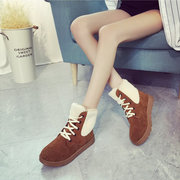 Furry Lace Up Round Toe Warm Lined Ankle Boots