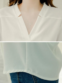 Chiffon Pure Color Seventh Sleeve V-neck Shirt