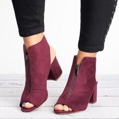 Suede Peep Toe Chunky Heel Zipper Ankle Boots