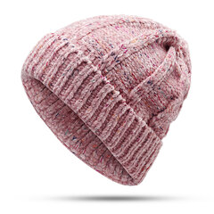 Women Winter Warm Knit Solid Color Cap Outdoor Casual Shopping Cycling Windproof Hat