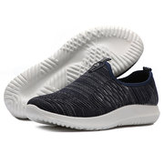 Men Breathable Knitted Fabric Slip On Hiking Casual Sneakers