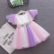Flower Patchwork Baby Girls Toddler Tulle Princess Dress For 0-4 Years