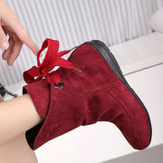 Large Size Lace Up Pure Color Flat Knight Boots