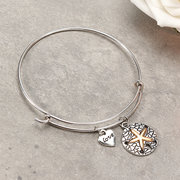 Sweet Love Heart Starfish Coin Pendant Bangle Bracelet Cute Valentine's Day Gift for Her