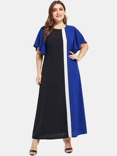 Casual Patchwork Two Tone Half Sleeve Plus Size Maxi Dress