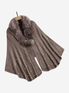 Solid Color Autumn Winter Faux Fur Collar Pearl Shawl Coat