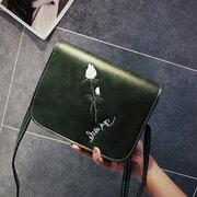 Women Soft Leather Rose Embroidered Shoulder Bag Slanting Small Square Bag