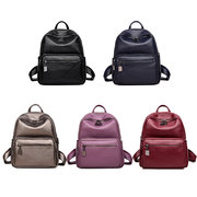 Women High-end Soft Leather Backpack Vintage Double Layer Large Capacity Leisure Bag