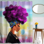 165*180/180*180 cm African Girls Shower Curtain Polyester Fabric Waterproof Bathroom Curtain