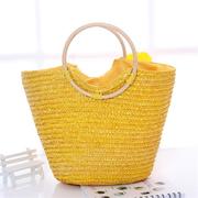 Borsa da spiaggia per il tempo libero da viaggio con borsa in paglia intrecciata a mano