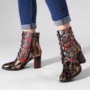SOCOFY Comfy Bohemia Genuine Leather Metal Texture Flower Pattern Rivet Zipper High Heel Ankle Boots
