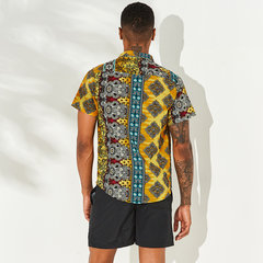 Mens Printed Patchwork National Style Short Sleeve Cotton Breathable Casual Loose Shirt