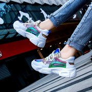 Sports Shoes New Season Wild Sequins Color Matching Mesh Openwork Breathable Increase Thick Bottom Old Shoes