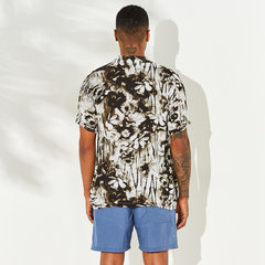 Mens Hawaiian Holiday Floral Printed Beach Cotton Turn Down Collar Short Sleeve Loose Shirts