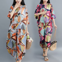 Season New Loose Large Size Casual Cool Chiffon Printing Two-piece Suit Women