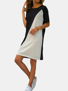 Casual Patchwork Short Sleeve Loose Dress