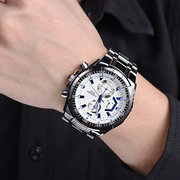 غير القابل للصدأ Steel حزام Luminous عرض False يتصل Men Quartz Watch