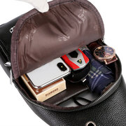 Men Vintage Chest Bag Solid PU Leather Crossbody Bag Casual Sling Bag