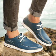 Men Leather Soft Button Lace Up Casual Sport Flat Shoes