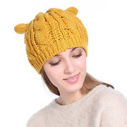 Women Cute Winter Warm Wool Knit Bonnet Pure Color Comfortable Beanie Cap With Cat Ears