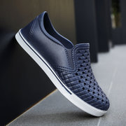 Men Breathable Hole Slip On Pure Color Light Weight Casual Shoes