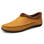 Men Large Size Plush Lining Microfiber Leather Non-slip Casual Slippers