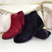 Splicing Round Toe Zipper Caual Ankle Boots