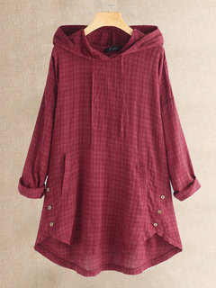 Vintage Plaid Button Hooded Irregular Plus Größenbluse mit Pokcets