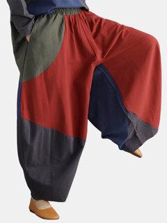 Contraste cor Patchwork solto elástico na cintura Harem Pants