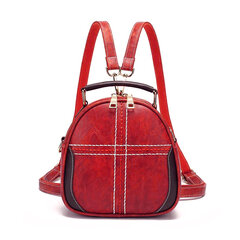 Women Vintage Faux Leather Handbags Multi-function Backpack Double Layer Crossbody Bags