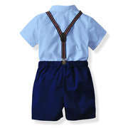 4Pcs Formal Toddlers Boys Clothing Sets Kids Shirt +Shorts+Strap+ Bow For 1Y-9Y