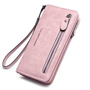 Women PU Leather 10 Card Slots Bifold Purse 5.5'' Cell Phone Pocket Bag