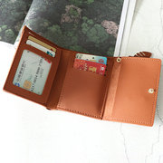Faux Leather Trifold Short Wallet Coin Purse For Women