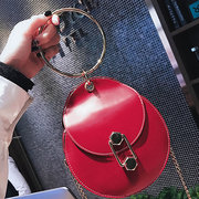 Women Concise Metal Ring Chain Shoulder Portable Handbag