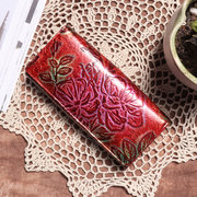 Brenice National Flower Long Wallets Genuine Leather Purse Card Holder Coin Bags