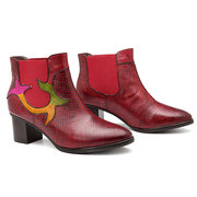 SOCOFY Cowgirl Splicing Vine Pattern Slip On Ankle Comfortable Genuine Leather Boots