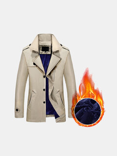 Business Casual Trench Coat Thick Warm Cotton Fleece Lining Turndown Collar Jacket for Men