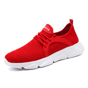 Large Size Flying Woven Men's Shoes Lightweight Breathable White Mesh Running Shoes Men's Casual Sports Shoes