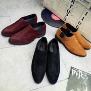 Men British Style Pointed Toe Slip-ons Oxfords