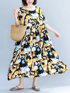 Summer Print Half Sleeve Crew Neck Vintage Dress for Women